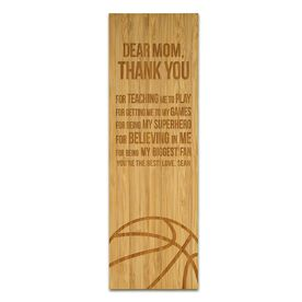 "Basketball 12.5"" X 4"" Engraved Bamboo Removable Wall Tile - Dear Mom"