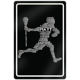 """Lacrosse Aluminum Room Sign Personalized Lacrosse Words Male (18"""" X 12"""")"""