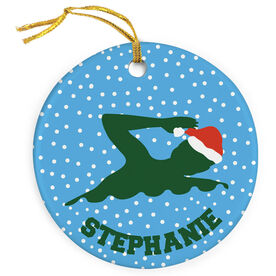 Swimming Porcelain Ornament Swim Silhouette With Santa Hat