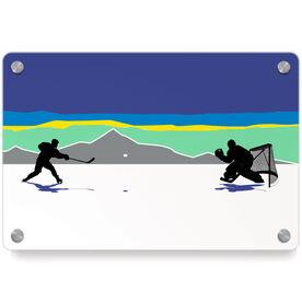 Hockey Metal Wall Art Panel - Pond Hockey