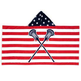 Guys Lacrosse Hooded Towel - American Flag