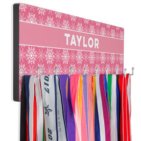Skiing and Snowboarding Hooked on Medals Hanger - Personalized Snowflake Pattern