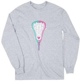 Girls Lacrosse Long Sleeve T-Shirt - Lacrosse Stick Heart