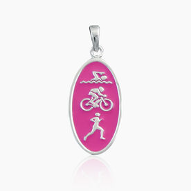 Sterling Silver and Pink Enamel Swim Bike Run Charm