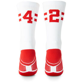 Team Number Woven Mid-Calf Socks - White/Red