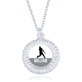 Baseball Braided Circle Necklace - Batter Silhouette With Name