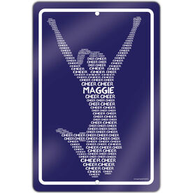 """Cheerleading 18"""" X 12"""" Aluminum Room Sign Personalized Cheer Words"""
