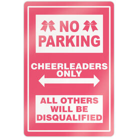 """Cheerleading 18"""" X 12"""" Aluminum Room Sign - No Parking Sign With Bows"""