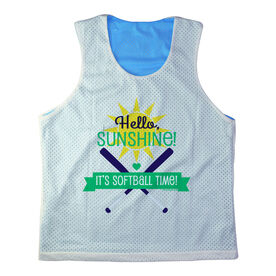 Girls Softball Racerback Pinnie Personalized Hello Sunshine It's Softball Time Green