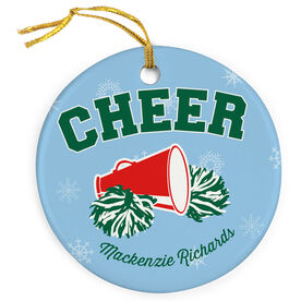 Cheerleading Porcelain Ornament Cheer With Poms And Horn