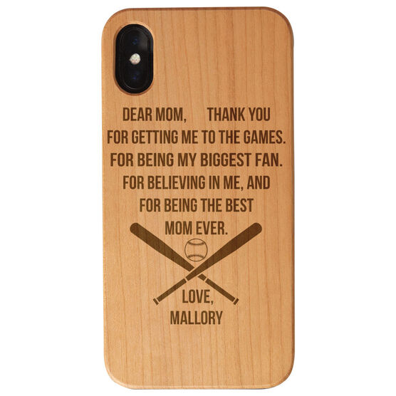 Softball Engraved Wood IPhone® Case - Dear Mom Thank You Heart