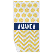 Volleyball Premium Beach Towel - Personalized 2 Tier Pattern