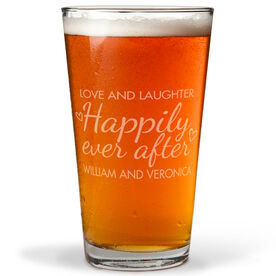 Personalized 16 oz. Beer Pint Glass - Happily Ever After