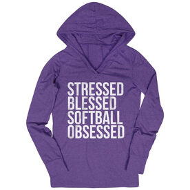 Softball Lightweight Performance Hoodie - Stressed Blessed Softball Obsessed