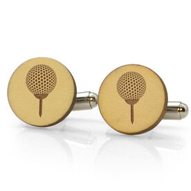 Golf Engraved Wood Cufflinks Ball
