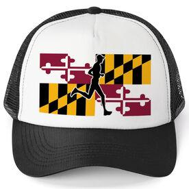 Running Trucker Hat - Maryland Flag Male Runner
