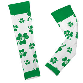 Cheer Printed Arm Sleeves Shamrock All Over Pattern With Pom Poms