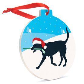 Hockey Round Ceramic Ornament - Hockey Dog
