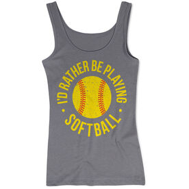 Softball Women's Athletic Tank Top - I'd Rather Be Playing Softball Distressed