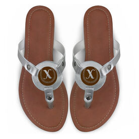 Softball Engraved Thong Sandal Softball with Your Initial