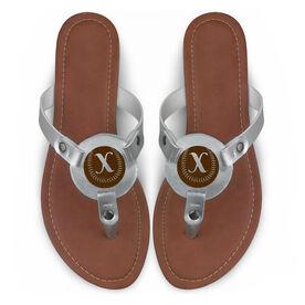 Softball Engraved Thong Sandal Softball with Your Initial