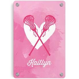 Girls Lacrosse Metal Wall Art Panel - Watercolor Heart