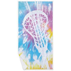 Girls Lacrosse Premium Beach Towel - Stick with Tie-Dye
