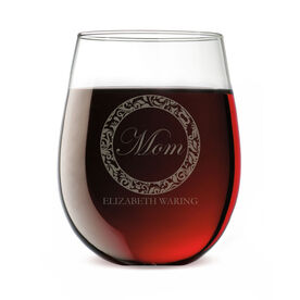 Personalized Stemless Wine Glass - Tasteful Mom Crest