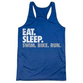 Women's Racerback Performance Tank Top - Eat. Sleep. Swim. Bike. Run.