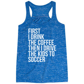 Soccer Flowy Racerback Tank Top - Then I Drive The Kids To Soccer