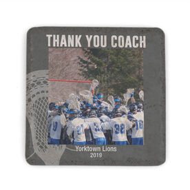 Guys Lacrosse Stone Coaster - Personalized Thank You Coach Guys Lacrosse Photo