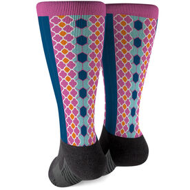 Soccer Printed Mid-Calf Socks - Preppy Soccer Pattern