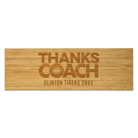 "Football 12.5"" X 4"" Engraved Bamboo Removable Wall Tile - Thanks Coach"
