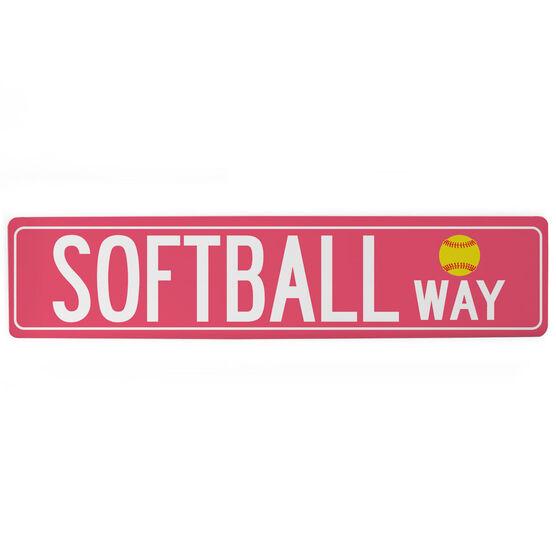 "Softball Aluminum Room Sign - Softball Way (4""x18"")"