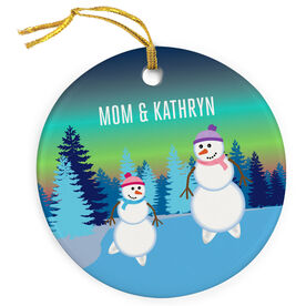 Figure Skating Porcelain Ornament Snowman Mother & Child