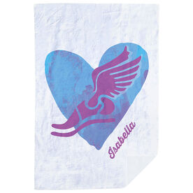 Track & Field Premium Blanket - Watercolor Heart Winged Foot