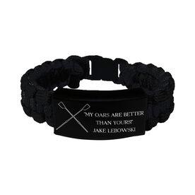 Crew Paracord Engraved Bracelet - 3 Lines/Black