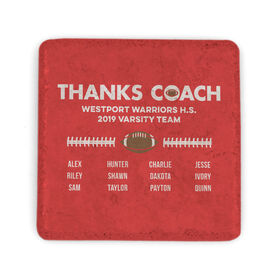 Football Stone Coaster - Thanks Coach Roster