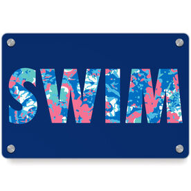 Swimming Metal Wall Art Panel - Floral