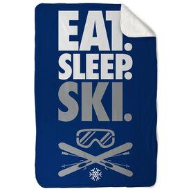 Skiing Sherpa Fleece Blanket - Eat. Sleep. Ski. Vertical
