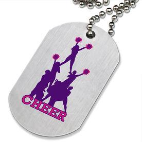 Cheer Pyramid Printed Dog Tag Necklace