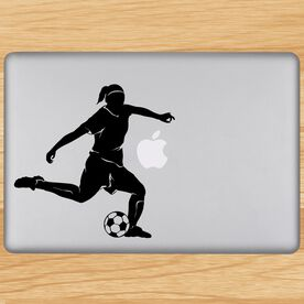 Soccer Player Girl Silhouette Removable ChalkTalkGraphix Laptop Decal