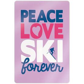 "Skiing 18"" X 12"" Aluminum Room Sign - Peace Love Ski Forever"