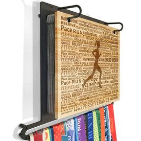 Engraved Bamboo BibFOLIO Plus Race Bib and Medal Display Running Inspiration Female