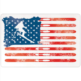 "Skiing 18"" X 12"" Aluminum Room Sign - American Flag"