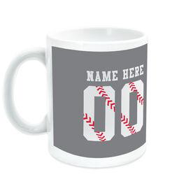 Baseball Coffee Mug Stitches Jersey Number