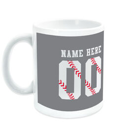 Baseball Coffee Mug Stitches Jersey Number