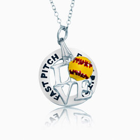 Fast Pitch Ring and Love Softball Charm Necklace