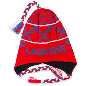 Fleece Lined Knit LACROSSE Hat Red/Blue