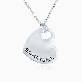 Sport Heart - BASKETBALL Silver Necklace